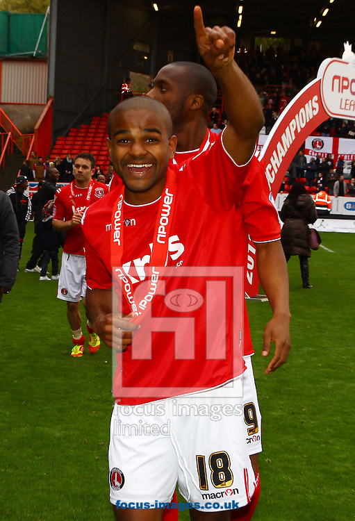 Picture by John Rainford/Focus Images Ltd. 07506 538356.05/05/12.Bradley Pritchard of Charlton Athletic celebrates the Npower League 1 title at The Valley stadium, London.