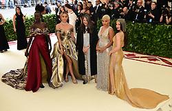 Alek Wek, Jasmine Sanders, Valerie Messika, Kiersey Clemons and Olivia Munn attending the Metropolitan Museum of Art Costume Institute Benefit Gala 2018 in New York, USA.