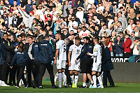 Football - 2019 / 2020 Sky Bet (EFL) Championship - Swansea City vs. Reading<br /> <br /> Swansea   celebrate in front of jubilant swansea fans after winning the South Wales derby match , at the Liberty Stadium.<br /> <br /> COLORSPORT/WINSTON BYNORTH