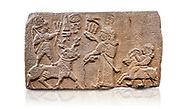 """Aslantepe Hittite relief sculpted orthostat stone panel. Limestone, Aslantepe, Malatya, 1200-700 B.C. Anatolian Civilisations Museum, Ankara, Turkey.<br /> <br /> Scene of king's offering drink and sacrifice to the god. The god is on the deer, with the bow attached to his shoulder and with a triple bundle of lightning in his hand. The king looks at the god, and makes the libation to the god while carrying a scepter with a curled end - lituus. Behind the king is a servant holding a goat for sacrifice to the god. Hieroglyphs read; """"God Parata, Strong King... """". <br /> <br /> Anatolian Civilizations Museum, Ankara, Turkey <br /> <br /> If you prefer to buy from our ALAMY STOCK LIBRARY page at https://www.alamy.com/portfolio/paul-williams-funkystock/hittite-art-antiquities.html . Type - Aslantepe - in LOWER SEARCH WITHIN GALLERY box. Refine search by adding background colour, place, museum etc.<br /> <br /> Visit our HITTITE PHOTO COLLECTIONS for more photos to download or buy as wall art prints https://funkystock.photoshelter.com/gallery-collection/The-Hittites-Art-Artefacts-Antiquities-Historic-Sites-Pictures-Images-of/C0000NUBSMhSc3Oo"""