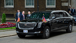 Donald Trump, US President and First Lady Melania Trump arrive in Downing Street as part of their State visit. Theresa May, Prime Minister and Mr May greet them on the doorstep of No.10 Downing Street, London, Great Britain <br /> 4th June 2019 <br /> <br /> Donald Trump<br /> Melania Trump <br /> Arrive in Downing Street <br /> <br /> Photograph by Elliott Franks