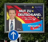 DEU, Deutschland, Germany, Berlin, 22.05.2014: <br />Ein Wahlplapakt der Partei Alternative für Deutschland (AfD) mit einem Bild von Prof. Dr. Bernd Lucke und dem Slogan Mut zu Deutschland.