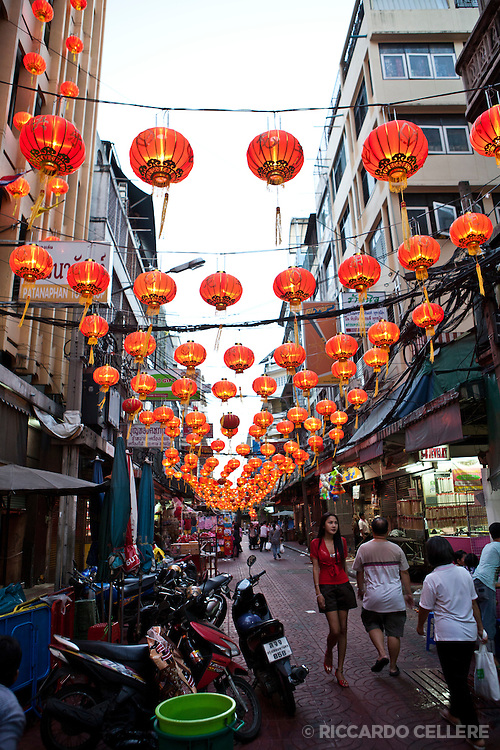 Chinatown streets decorated for Chinese New Year celebrations in Bangkok