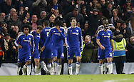 Chelsea Players celebrate a very late equaliser during the Barclays Premier League match between Chelsea and Everton at Stamford Bridge, London, England on 16 January 2016. Photo by Andy Walter.