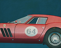 """The Ferrari 250 GTO is a GT car produced by Ferrari from 1962 to 1964 for homologation into the FIA's Group 3 Grand Touring Car category. It was powered by Ferrari's Tipo 168/62 Colombo V12 engine.<br /> <br /> The """"250"""" in its name denotes the displacement in cubic centimeters of each of its cylinders; """"GTO"""" stands for Gran Turismo Omologata,[4][5] Italian for """"Grand Touring Homologated.""""<br /> <br /> Just 36 of the 250 GTOs were manufactured between 1962 and 1964. This includes 33 cars with 1962-63 bodywork (Series I) and three with 1964 (Series II) bodywork similar to the Ferrari 250 LM. Four of the older 1962-1963 (Series I) cars were updated in 1964 with Series II bodies. –<br /> <br /> <br /> BUY THIS PRINT AT<br /> <br /> FINE ART AMERICA<br /> ENGLISH<br /> https://janke.pixels.com/featured/1-ferrari-250go-1964-jan-keteleer.html<br /> <br /> WADM / OH MY PRINTS<br /> DUTCH / FRENCH / GERMAN<br /> https://www.werkaandemuur.nl/nl/shopwerk/Ferrari-250GTO-1964/544636/134"""
