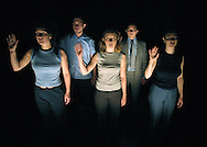 Liz Margree (centre) and fellow cast members of Unlimited Theatre, performing Neutrino at the Pleasance Dome. The show is part of the Edinburgh Festival Fringe and runs until August 26.