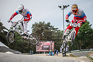 #145 (MALYSHENKOV Pavel) RUS and #89 (GALYAMOV Konstantin) RUS during practice at Round 5 of the 2018 UCI BMX Superscross World Cup in Zolder, Belgium
