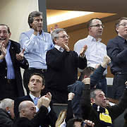 Turkish soccer club Fenerbahce's president Aziz YILDIRIM (C) celebrate victory during their Euroleague Basketball Top 16 Game 2 match Fenerbahce Ulker between Power Electronics Valencia at Sinan Erdem Arena in Istanbul, Turkey, Thursday, January 27, 2011. Photo by TURKPIX