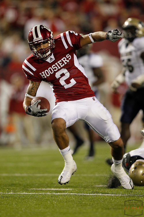 25 September 2010: Indiana Hoosiers wide receiver Tandon Doss (2) as the Indiana Hoosiers played the Akron Zips in a college football game in Bloomington, Ind.