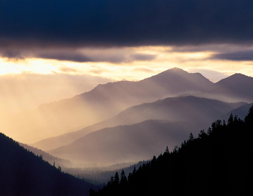 Tieton River Valley, morning light, view from Chinook Pass, Mount Rainier National Park, Washington, USA