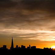 Sun setting behind San Francisco.