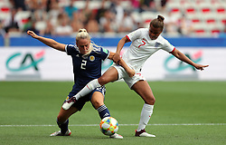 Scotland's Kirsty Smith (left) and England's Nikita Parris battle for the ball during the FIFA Women's World Cup, Group D match at the Stade de Nice.