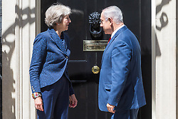 POOL: Israeli Prime Minister Benjamin Nethanyahu meets British Prime Minister Theresa May for bilateral talks at 10 Downing Street in London. PLACE, June 06 2018.