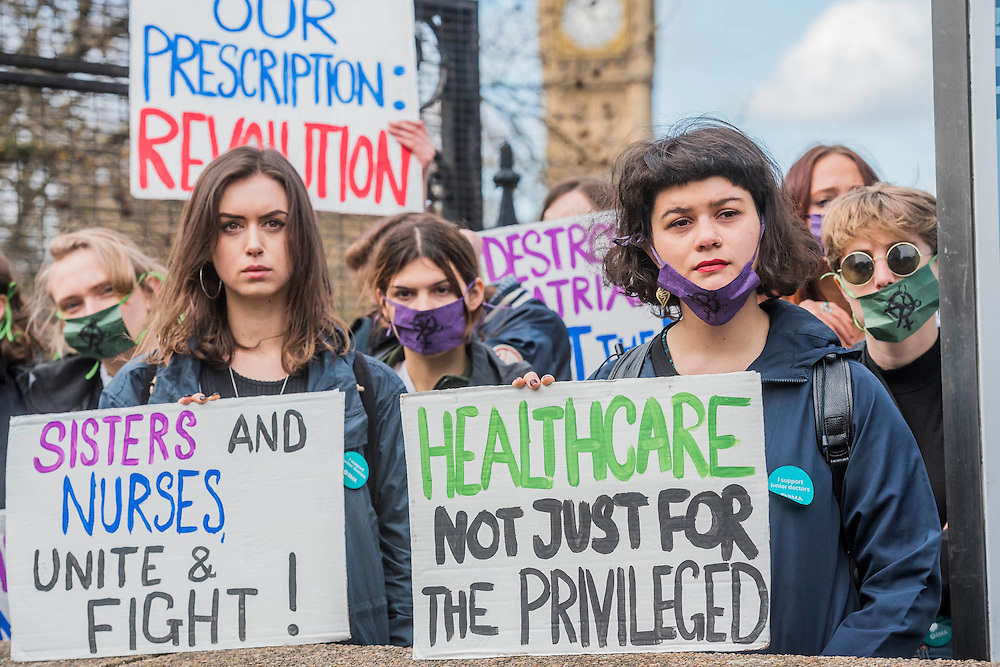 Women Uncut join the doctors - The picket line at St Thomas' Hospital. Junior Doctors stage another 48 hours of strike action against the new contracts due to be imposed by the Governemnt and health minister Jeremy Hunt.