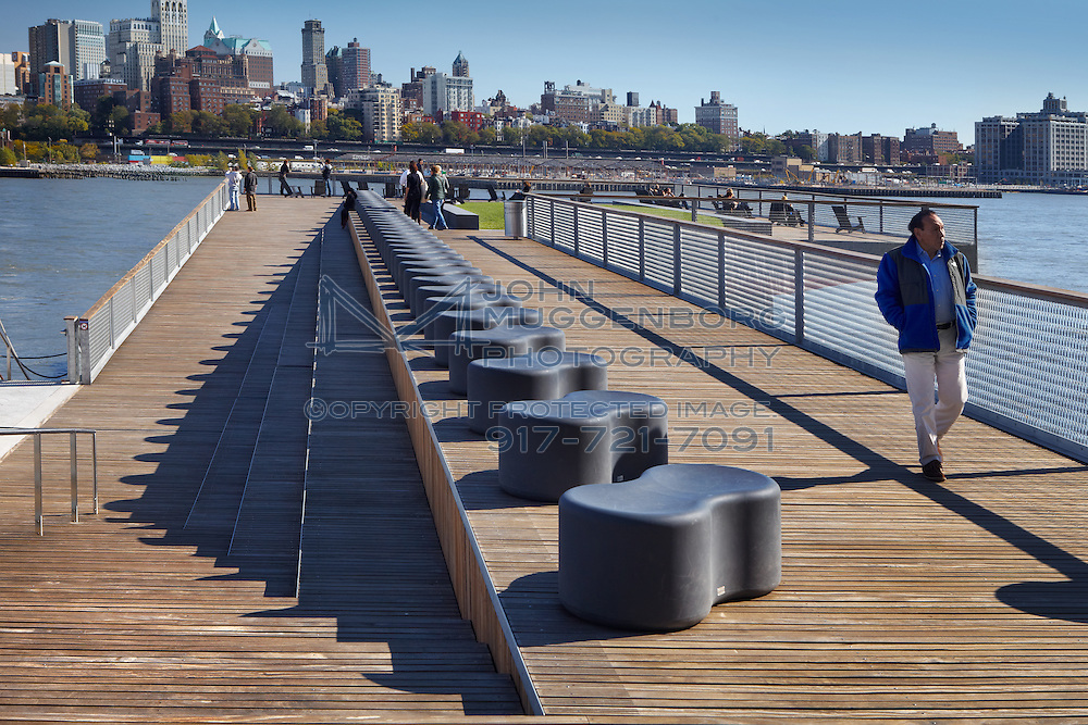 Looking east from the 2nd level of Pier 15 on the East River Park Esplanade in NYC.
