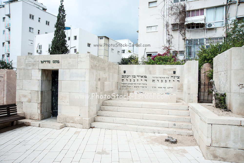 Meir and Zina Dizengoff (right) and Max Nordau (left) in the old cemetery in Trumpeldor street, Tel Aviv, Israel
