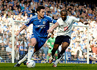 Photo: Ed Godden/Sportsbeat Images.<br /> Chelsea v Tottenham Hotspur. The FA Cup. 11/03/2007.<br /> Chelsea's Frank Lampard (L), is followed by Didier Zokora.