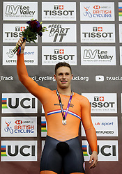 Harrie Lavreysen of Netherlands celebrates during the medals ceremonies after winning the Men's Sprint Finals during day three of the Tissot UCI Track Cycling World Cup at Lee Valley VeloPark, London.