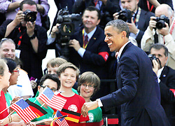 59870593 U.S. President Barack Obama greets during a welcoming ceremony at the Presidential Palace in Berlin, Germany, June 19, 2013. Obama arrived in Berlin on June 18 for an official visit in Berlin, Germany, Wednesday June 19, 2013.<br /> UK ONLY