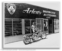 Arlen Ness in front of his second store on 14th Street. San Leandro, CA.  ©1982 Ness Family Archive Photo