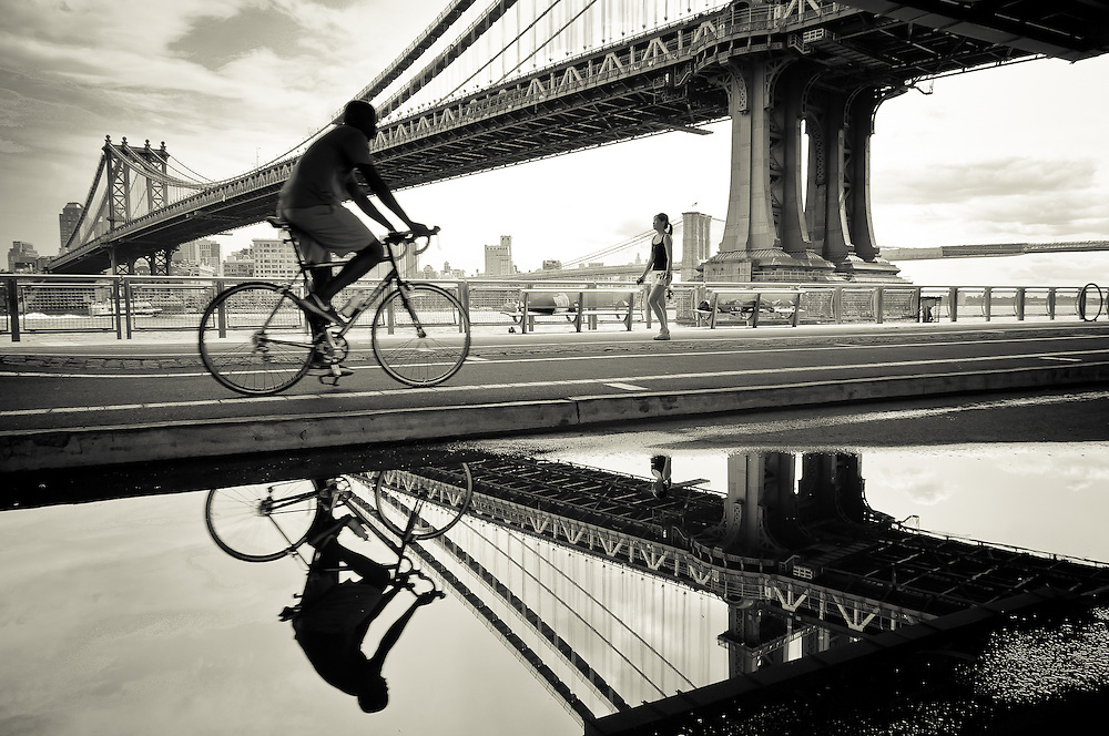 People exercising on the East River Bikeway in Downtown Manhattan, new york, 2011.