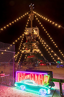 Night at the Climb In by: Dustin Weatherford from: Reno, NV year: 2018<br /> <br /> Night at the Climb In will be a 70 foot tall stack of reclaimed junkyard cars, stacked straight up, one on top of the next. Every car will be climbable, visitable, interactive in its own way. The stack will end in a crows nest that sits at the top of the structure, just under a large spinning lit up sign. URL: https://www.facebook.com/nightattheclimbin/ Contact: nightattheclimbin@gmail.com