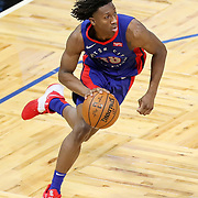 ORLANDO, FL - FEBRUARY 23:  Saben Lee #38 of the Detroit Pistons drives to the net against the Orlando Magic during the second half at Amway Center on February 23, 2021 in Orlando, Florida. NOTE TO USER: User expressly acknowledges and agrees that, by downloading and or using this photograph, User is consenting to the terms and conditions of the Getty Images License Agreement. (Photo by Alex Menendez/Getty Images)*** Local Caption *** Saben Lee