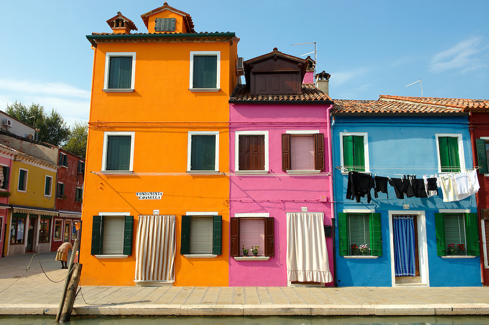 Streets and canals of Burano island - Venice - Italy The traditional colourful houses of Burano Island, Venice Lagoon, Italy .<br /> <br /> Visit our ITALY HISTORIC PLACES PHOTO COLLECTION for more   photos of Italy to download or buy as prints https://funkystock.photoshelter.com/gallery-collection/2b-Pictures-Images-of-Italy-Photos-of-Italian-Historic-Landmark-Sites/C0000qxA2zGFjd_k