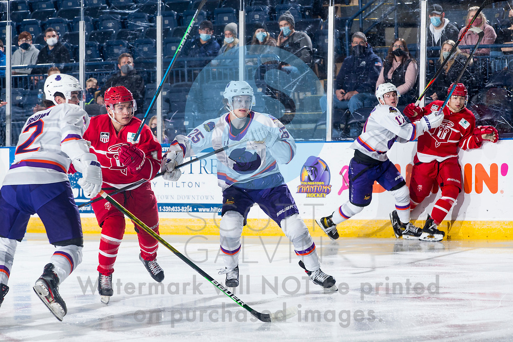 The Youngstown Phantoms defeat the Dubuque Fighting Saints 4-1 at the Covelli Centre on January 9, 2021.<br /> <br /> Bennet Zmolek, defenseman, 25; Mike Brown, defenseman, 2