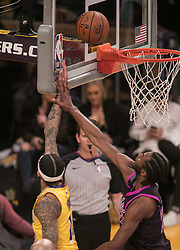 January 24, 2019 - Los Angeles, California, U.S - Andrew Wiggins #22 of the Minneapolis Timberwolves fouls Brandon Ingram #14 of the Los Angeles Lakers during their NBA game on Thursday January 24, 2019 at the Staples Center in Los Angeles, California. Lakers lose to Timberwolves, 105-120. (Credit Image: © Prensa Internacional via ZUMA Wire)