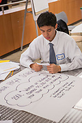 Purchase, NY – 31 October 2014. Valhalla High School student Alec Uy reviews his notes. The Business Skills Olympics was founded by the African American Men of Westchester, is sponsored and facilitated by Morgan Stanley, and is open to high school teams in Westchester County.
