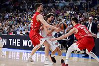 Real Madrid's Sergio Llull and Crvena Zvezda Mts Belgrade's Ognjen Kuzmic and Nemanja Dangubic during Turkish Airlines Euroleague match between Real Madrid and Crvena Zvezda Mts Belgrade at Wizink Center in Madrid, Spain. March 10, 2017. (ALTERPHOTOS/BorjaB.Hojas)
