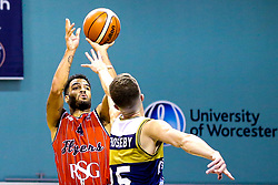 Lewis Champion of Bristol Flyers scores the winning points of the game - Mandatory by-line: Robbie Stephenson/JMP - 05/10/2018 - BASKETBALL - University of Worcester Arena - Worcester, England - Bristol Flyers v Worcester Wolves - British Basketball League