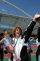 28/08/04 - ATHENS - GREECE -  - OLYMPIC FOOTBALL - FINAL MATCH - MENS  -  <br />ARGENTINA (1) Vs. PARAGUAY (0) At the Olympic Stadium in Athens. Argentine win the goal medal<br />Argentine playet FABRICIO COLOCCINI celebrating.<br />© Gabriel Piko / Argenpress.com / Piko-Press