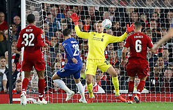 Chelsea's Alvaro Morata has an attempt on goal saved by Liverpool goalkeeper Simon Mignolet during the Carabao Cup, Third Round match at Anfield, Liverpool.