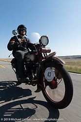 Aaron Loveless riding his 1918 Harley-Davidson model-J on the Motorcycle Cannonball coast to coast vintage run. Stage 10 (299 miles) from Sturgis, SD to Billings, MT. Tuesday September 18, 2018. Photography ©2018 Michael Lichter.
