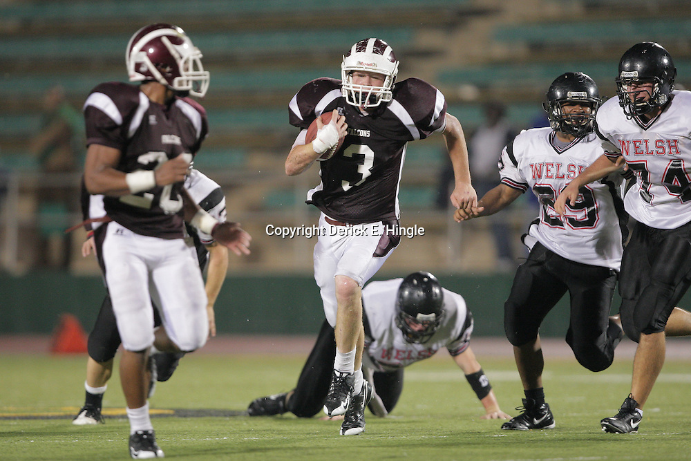 14 November 2008: St. Thomas Aquinas CB Ryan Gambel  (#3) runs back an interception for a touchdown during the St. Thomas Falcons 47-28 playoff victory over the Welch Greyhounds at Strawberry Stadium in Hammond, LA.