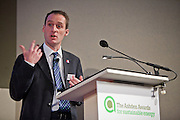 Ewan Bent of Midilands Wood Fuel speaking at the Ashden Awards conference 2011 at the Royal Geographic Society.