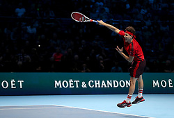 Dominic Thiem in action during day four of the NITTO ATP World Tour Finals at the O2 Arena, London.