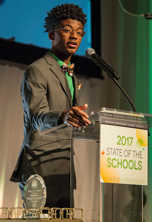 Yates High School student Reginald Pierre-Antonie comments during the State of the Schools luncheon at the Hilton of the Americas, February 15, 2017.