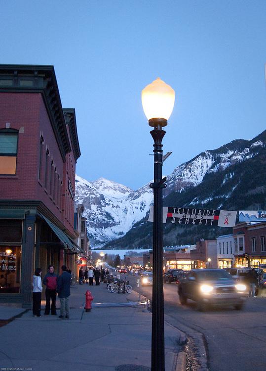 Evening in downtown Telluride during Gay Ski Week.