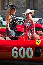 © London News Pictures. 07/09/2012. Windsor, UK . Two ladies admire a 1956 Ferrari 290 MM Spider , one of 60 of the rarest motorcars from around the world at Windsor Castle in Berkshire for the WIndsor Castle Concours Of Elegance on September 07, 2012. The three day event is open to the public on Saturday and Sunday. Photo credit: Ben Cawthra/LNP