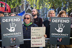 London, UK. 17 September, 2019. Pro-EU activists protest outside the Supreme Court on the first day of a hearing to consider whether the Prime Minister broke the law by suspending Parliament in advance of Brexit Day. The purpose of the hearing is to adjudicate as to which of two court rulings should prevail, either a ruling by the High Court that the suspension of Parliament is a political decision to be made by the Prime Minister or a ruling by the Scottish courts that the Prime Minister's actions in proroguing Parliament were unlawful.
