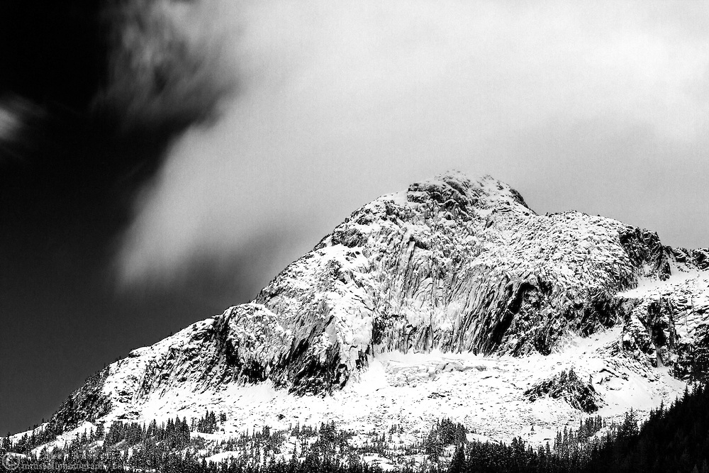 Fresh snow on Mount Webb at Chilliwack Lake in Chilliwack Lake Provincial Park, Chilliwack, British Columbia, Canada
