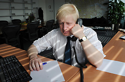 New London Mayor Boris Johnson in his office at City Hall in London.