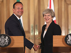 File photo dated 19/06/17 of Prime Minister Theresa May with Taoiseach Leo Varadkar. Mrs May is facing a fresh Brexit challenge amid reports that Dublin wants the Irish Sea to be the country's border with the UK.