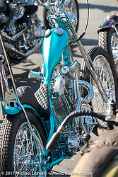 Martin Carlgren of Ringo Chop Shop in Gothenburg, Sweden built this 1947 SRM (Swedish Racing Motor) 1,000 cc chopper as an invited builder to Born Free 9 doing the final assembly in Jeff Leighton and Dave Polgreen's The Wretched Hive shop just before the start of the show. Born Free pre-party and Harley-Davidson Stampede at Costa Mesa Speedway. Costa Mesa, CA. USA. Thursday June 22, 2017. Photography ©2017 Michael Lichter.