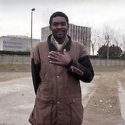 Rashid, a refugee from Sudan travelled for one month to reach Calais, France on his way to England..After the Sangatte refugee camp closed down an average of 200 refugees lived on the streets of Calais, without food, money or accommodation, trying most nights to get to Britain. There were many different nationalities, mainly Iraqi and Afghani, but also Sudanese, Palestinian and Turkish. 95% are male, aged between 16 and 50.
