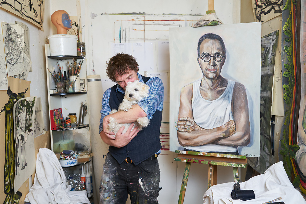 Germany, Berlin, 2017/07/26<br /> <br /> Artist Adam Tellmeister at his Studio in Berlin Prenzlauer Berg.<br /> <br /> Adam Tellmeister was born in Switzerland and refused to join the military in 1984 leading to being sentenced to several month in prison. Adam Tellmeister then fled Switzerland, via Italy, Germany and Holland he sought political asylum in East Berlin (GDR). After the reunification of Germany he resettled to West Berlin where he resided without legal documents for several years. Even though Adam is torn by homesickness he never came back to Switzerland. Photo by Gregor Zielke (Photo by Gregor Zielke)