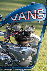 Bryan Thompson's 1955 Triumph Pre-Unit (1958 engine, 1955 frame, 1952 rigid rear section) sponsored by Vans Shoes, hence the Vans' color scheme and distinctive pipes in the shape of the Vans' shoe stripe. Born Free 9 Motorcycle Show at Oak Creek Park. Silverado, CA. USA. Sunday June 25, 2017. Photography ©2017 Michael Lichter.